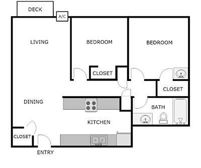 2 bed 1 bath floor plan