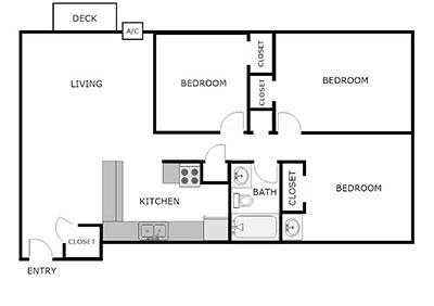 3 bed 1 bath floor plan